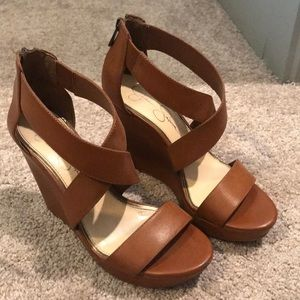 Jessica Simpson Brown Strappy wedges